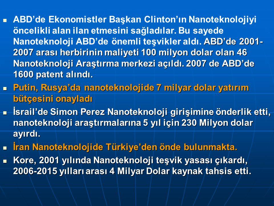ABD'de 2001- 2007 arası herbirinin maliyeti 100 milyon dolar olan 46 Nanoteknoloji Araştırma merkezi açıldı.