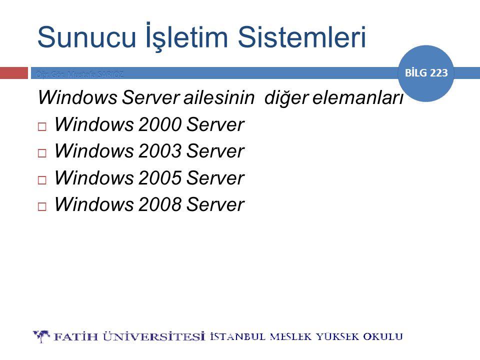 BİLG 223 Sunucu İşletim Sistemleri Windows Server ailesinin diğer elemanları  Windows 2000 Server  Windows 2003 Server  Windows 2005 Server  Windo