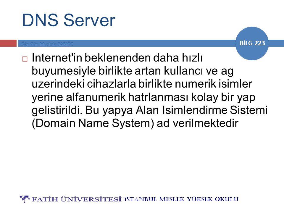 BİLG 223 DNS Server  Internet'in beklenenden daha hızlı buyumesiyle birlikte artan kullancı ve ag uzerindeki cihazlarla birlikte numerik isimler yeri