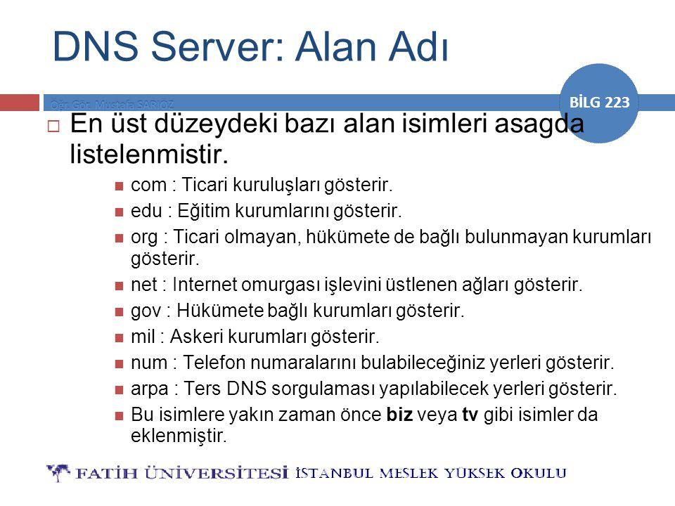 BİLG 223 DNS Server: Alan Adı  En üst düzeydeki bazı alan isimleri asagda listelenmistir. com : Ticari kuruluşları gösterir. edu : Eğitim kurumlarını