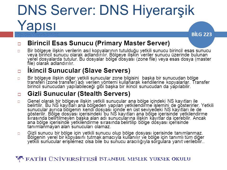BİLG 223 DNS Server: DNS Hiyerarşik Yapısı  Birincil Esas Sunucu (Primary Master Server)  Bir bölgeye ilişkin verilerin asıl kopyalarının tutulduğu