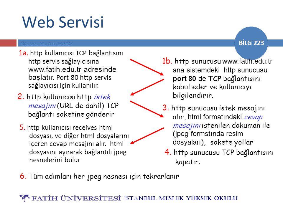 BİLG 223 Web Servisi 1a. http kullanıcısı TCP bağlantısını http servis sağlayıcısına www.fatih.edu.tr adresinde başlatır. Port 80 http servis sağlayıc