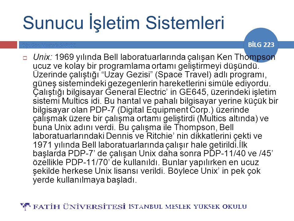 BİLG 223 Sunucu İşletim Sistemleri  Unix: 1969 yılında Bell laboratuarlarında çalışan Ken Thompson ucuz ve kolay bir programlama ortamı geliştirmeyi