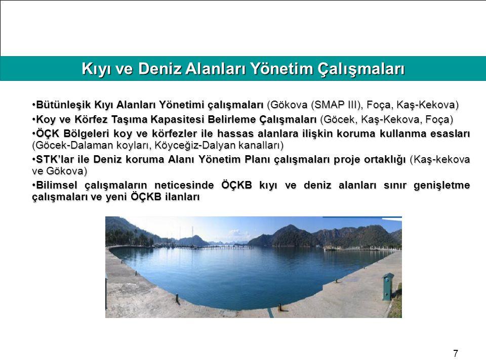 HAFIZAMIZI TAZELEYELİM Kıyı ve Deniz Alanları Yönetim Çalışmaları 7 Bütünleşik Kıyı Alanları Yönetimi çalışmaları (Gökova (SMAP III), Foça, Kaş-Kekova