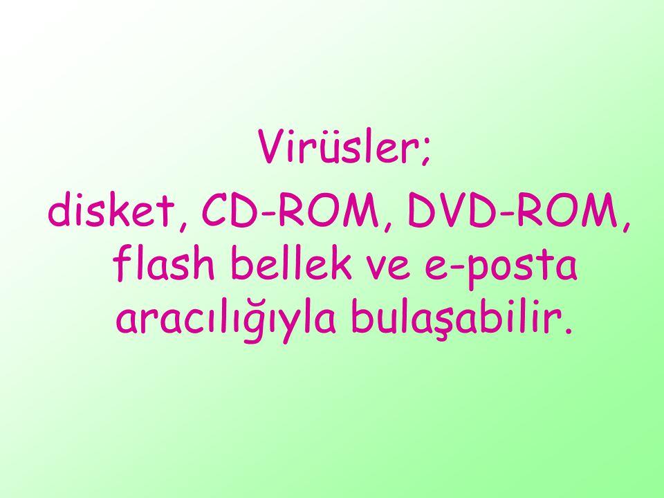 Virüsler; disket, CD-ROM, DVD-ROM, flash bellek ve e-posta aracılığıyla bulaşabilir.