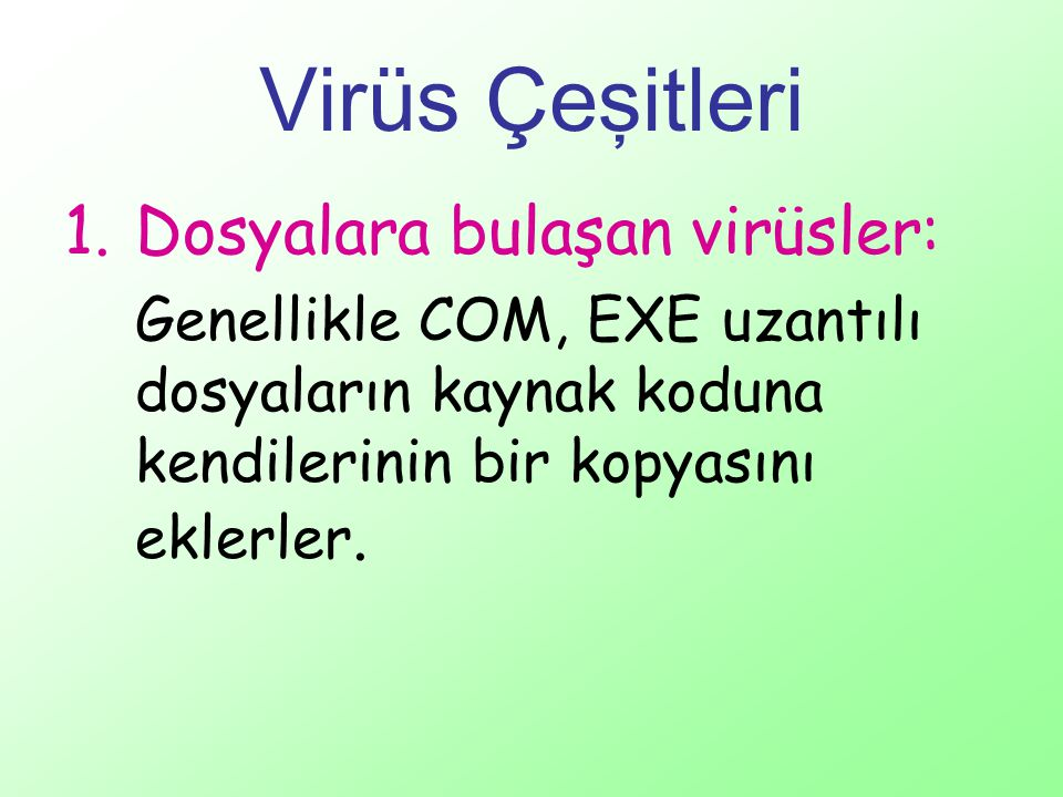 Virüs Çeşitleri 1.Dosyalara bulaşan virüsler: Genellikle COM, EXE uzantılı dosyaların kaynak koduna kendilerinin bir kopyasını eklerler.