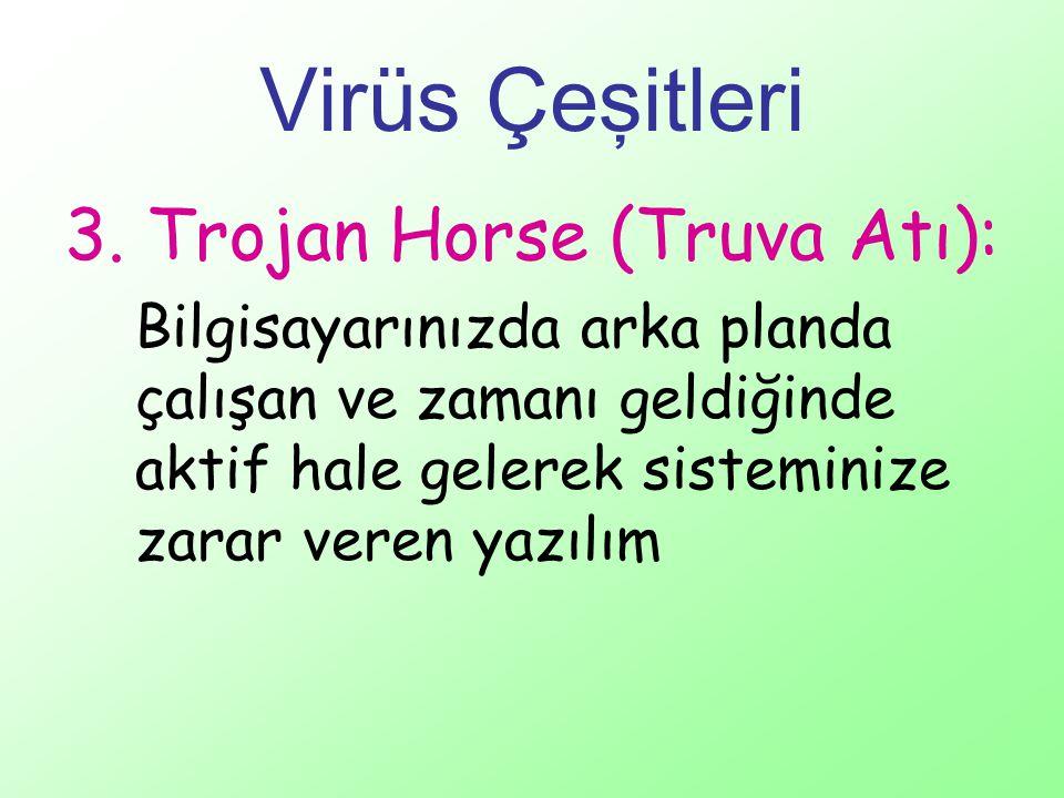 Virüs Çeşitleri 3. Trojan Horse (Truva Atı): Bilgisayarınızda arka planda çalışan ve zamanı geldiğinde aktif hale gelerek sisteminize zarar veren yazı