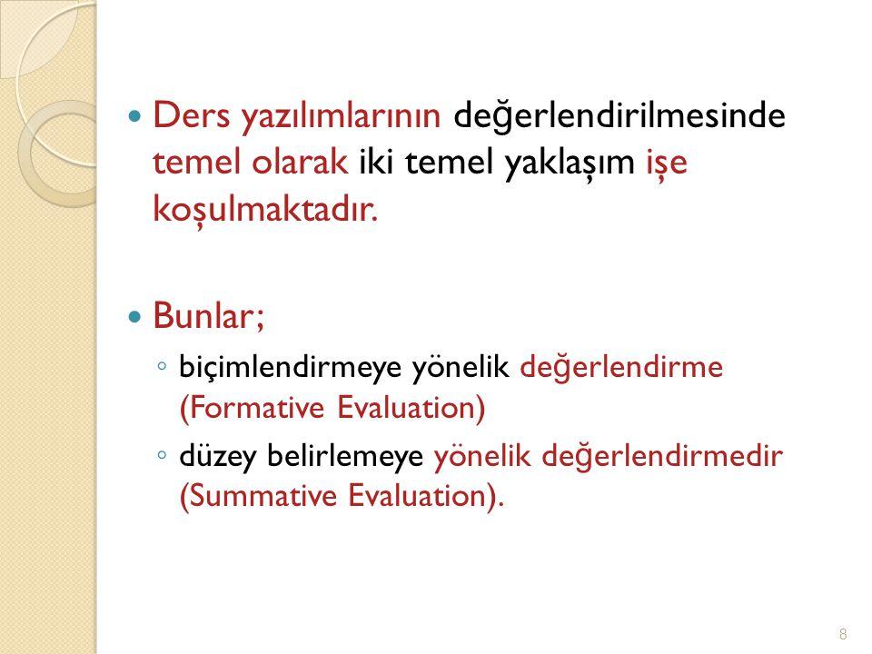 Ders yazılımlarının de ğ erlendirilmesinde temel olarak iki temel yaklaşım işe koşulmaktadır.