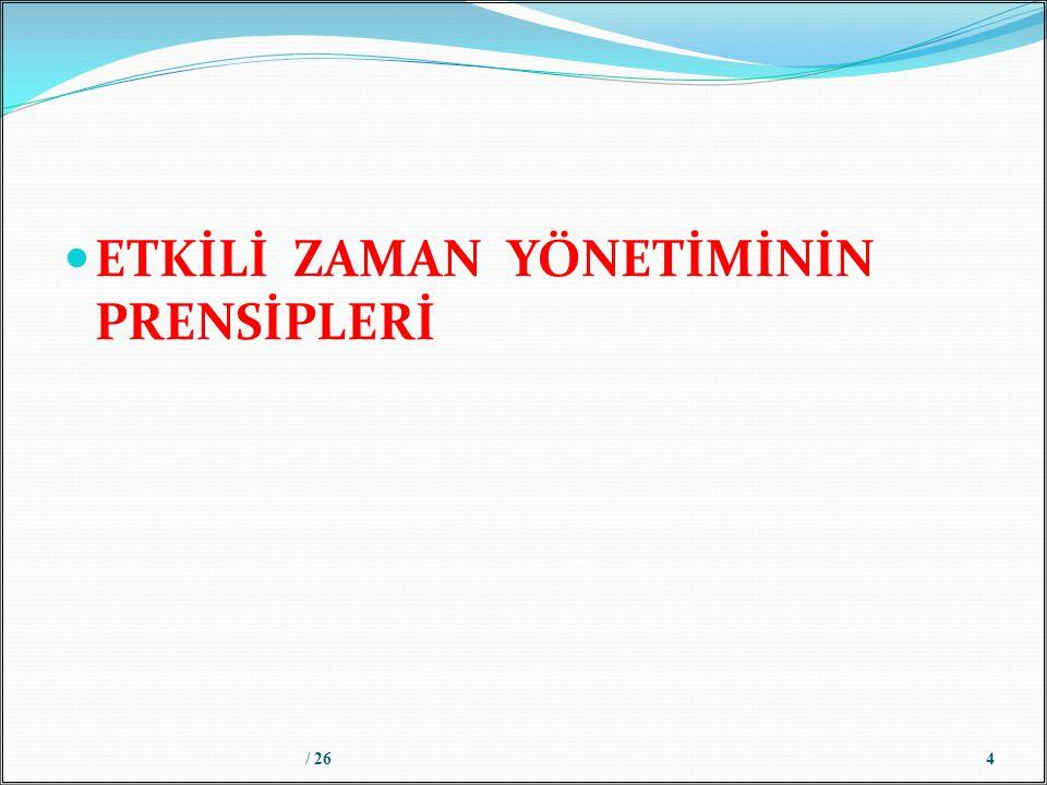 ETKİLİ ZAMAN YÖNETİMİNİN PRENSİPLERİ / 264