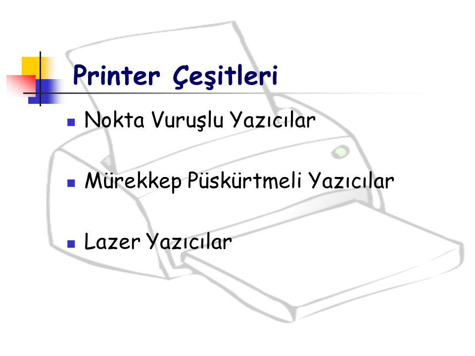 Printer Çeşitleri Nokta Vuruşlu Yazıcılar Mürekkep Püskürtmeli Yazıcılar Lazer Yazıcılar
