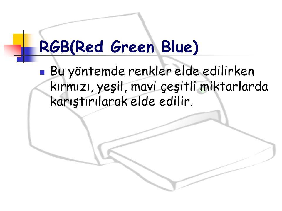 RGB(Red Green Blue) Bu yöntemde renkler elde edilirken kırmızı, yeşil, mavi çeşitli miktarlarda karıştırılarak elde edilir.
