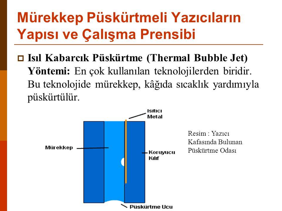  Isıl Kabarcık Püskürtme (Thermal Bubble Jet) Yöntemi: En çok kullanılan teknolojilerden biridir.