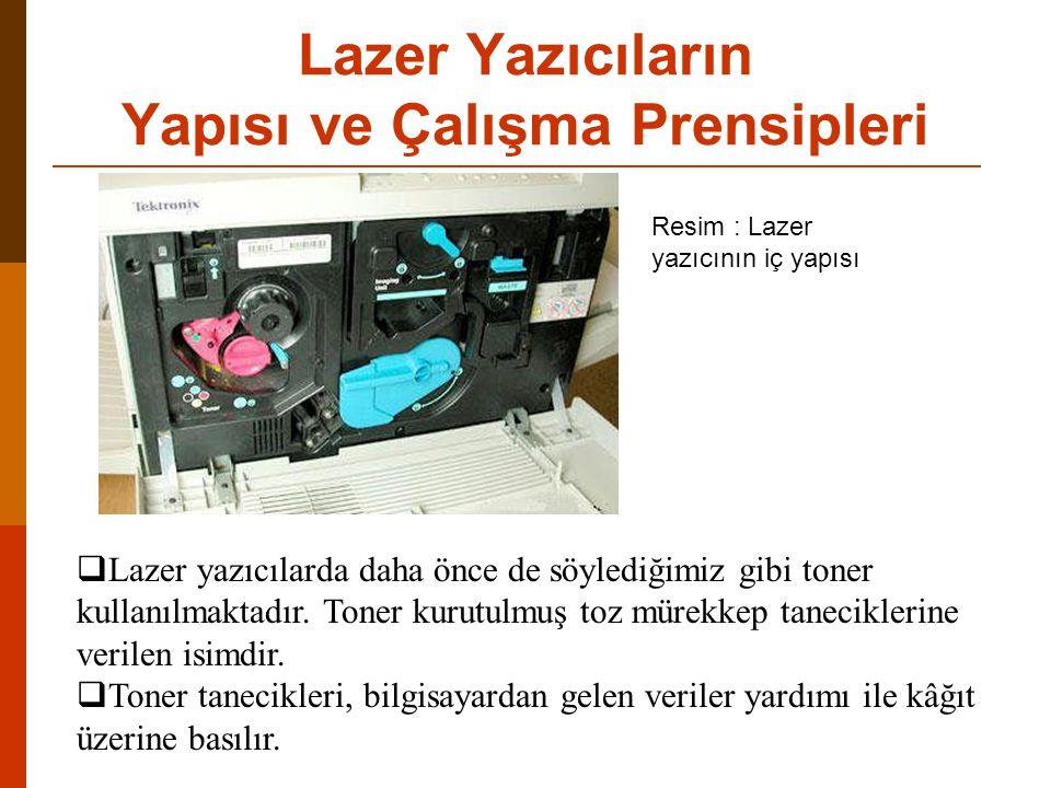 Lazer Yazıcıların Yapısı ve Çalışma Prensipleri  Lazer yazıcılarda daha önce de söylediğimiz gibi toner kullanılmaktadır.