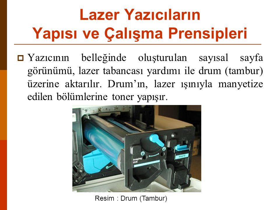  Yazıcının belleğinde oluşturulan sayısal sayfa görünümü, lazer tabancası yardımı ile drum (tambur) üzerine aktarılır.