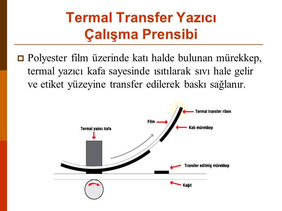 Termal Transfer Yazıcı Çalışma Prensibi  Polyester film üzerinde katı halde bulunan mürekkep, termal yazıcı kafa sayesinde ısıtılarak sıvı hale gelir ve etiket yüzeyine transfer edilerek baskı sağlanır.
