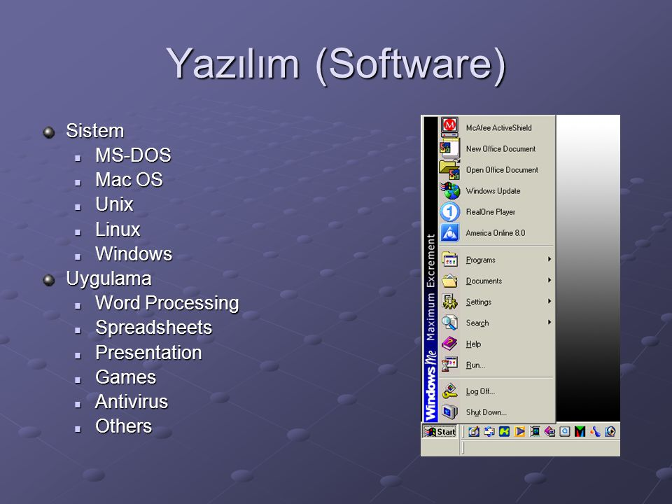 Yazılım (Software) Sistem MS-DOS MS-DOS Mac OS Mac OS Unix Unix Linux Linux Windows WindowsUygulama Word Processing Word Processing Spreadsheets Spreadsheets Presentation Presentation Games Games Antivirus Antivirus Others Others