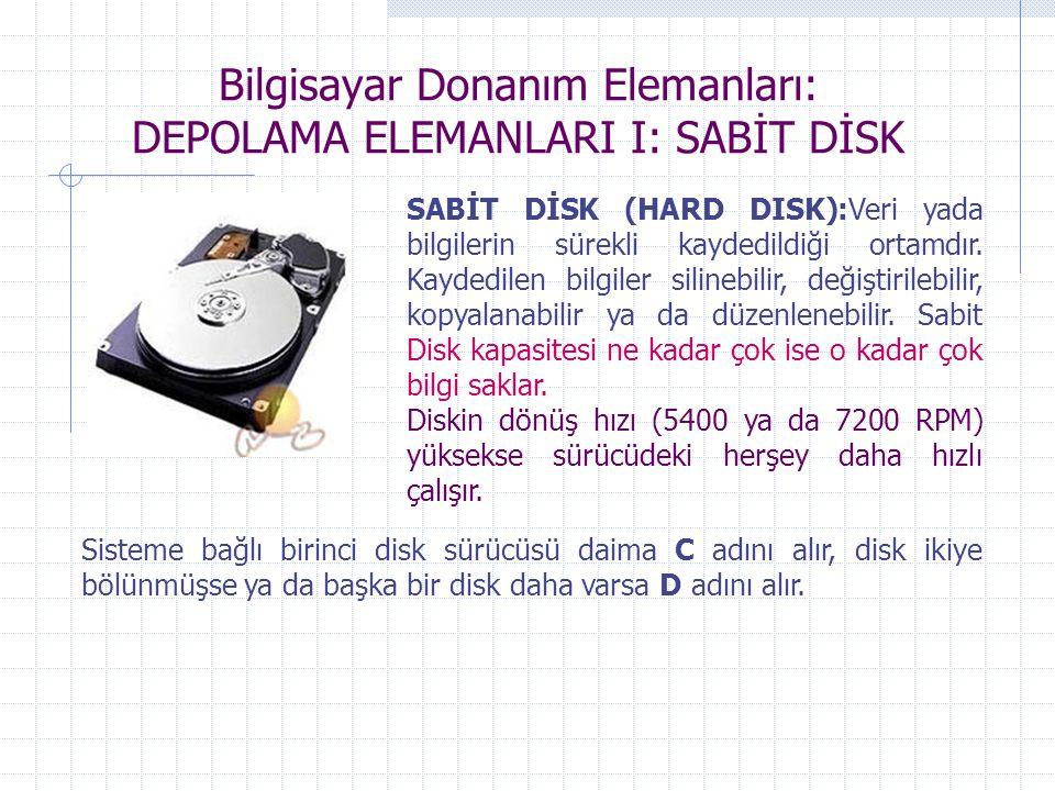 Bilgisayar Donanım Elemanları: DEPOLAMA ELEMANLARI I: SABİT DİSK SABİT DİSK (HARD DISK):Veri yada bilgilerin sürekli kaydedildiği ortamdır. Kaydedilen
