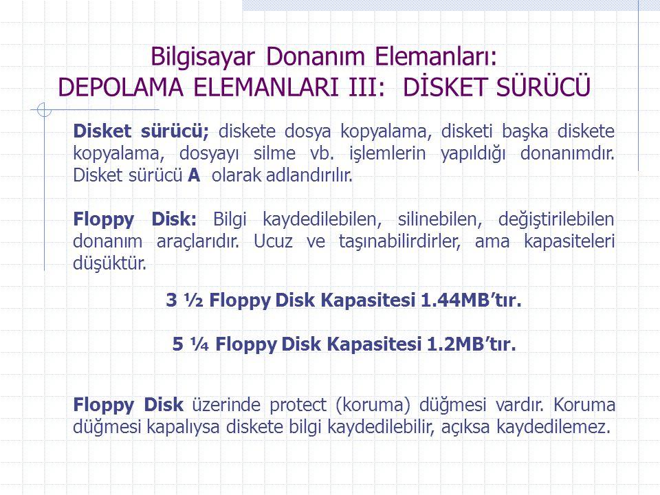 Bilgisayar Donanım Elemanları: DEPOLAMA ELEMANLARI III: DİSKET SÜRÜCÜ Disket sürücü; diskete dosya kopyalama, disketi başka diskete kopyalama, dosyayı