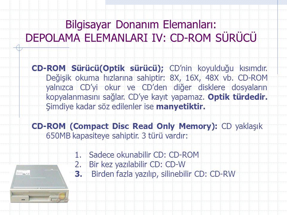Bilgisayar Donanım Elemanları: DEPOLAMA ELEMANLARI IV: CD-ROM SÜRÜCÜ CD-ROM Sürücü(Optik sürücü); CD'nin koyulduğu kısımdır. Değişik okuma hızlarına s