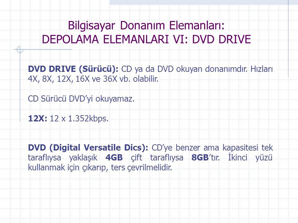 Bilgisayar Donanım Elemanları: DEPOLAMA ELEMANLARI VI: DVD DRIVE DVD DRIVE (Sürücü): CD ya da DVD okuyan donanımdır. Hızları 4X, 8X, 12X, 16X ve 36X v