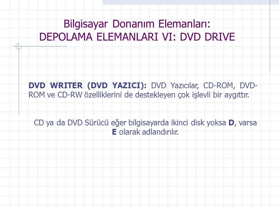 Bilgisayar Donanım Elemanları: DEPOLAMA ELEMANLARI VI: DVD DRIVE DVD WRITER (DVD YAZICI): DVD Yazıcılar, CD-ROM, DVD- ROM ve CD-RW özelliklerini de de