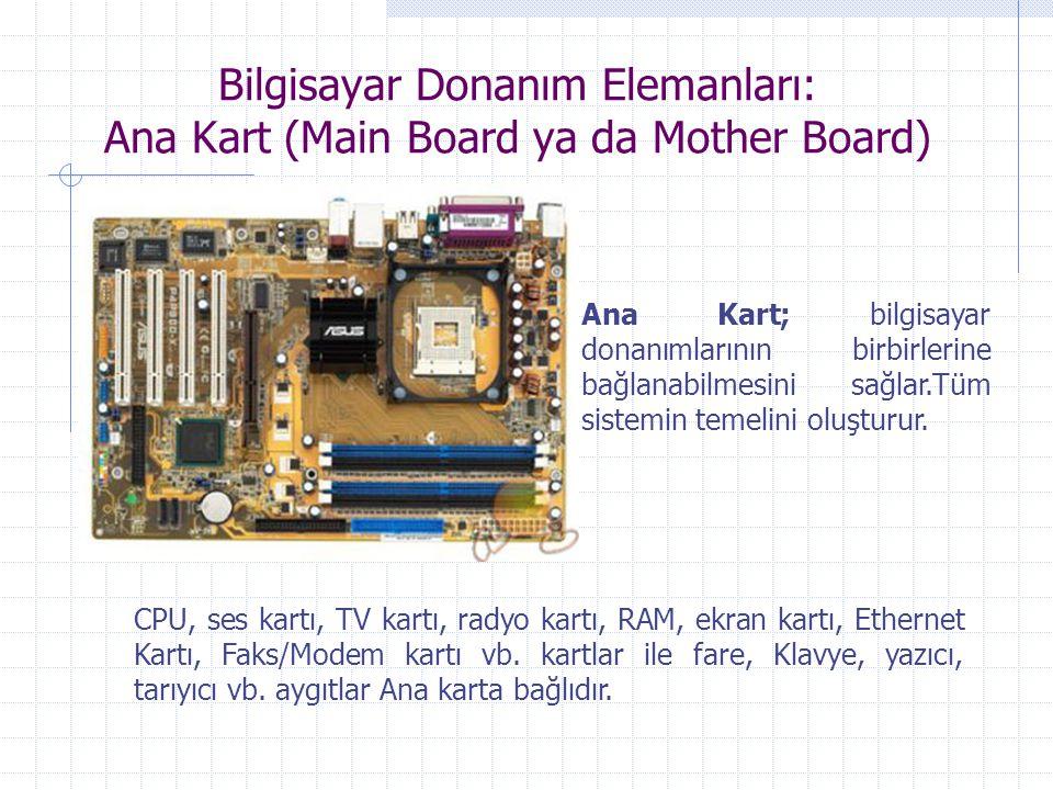 Bilgisayar Donanım Elemanları: Ana Kart (Main Board ya da Mother Board) CPU, ses kartı, TV kartı, radyo kartı, RAM, ekran kartı, Ethernet Kartı, Faks/