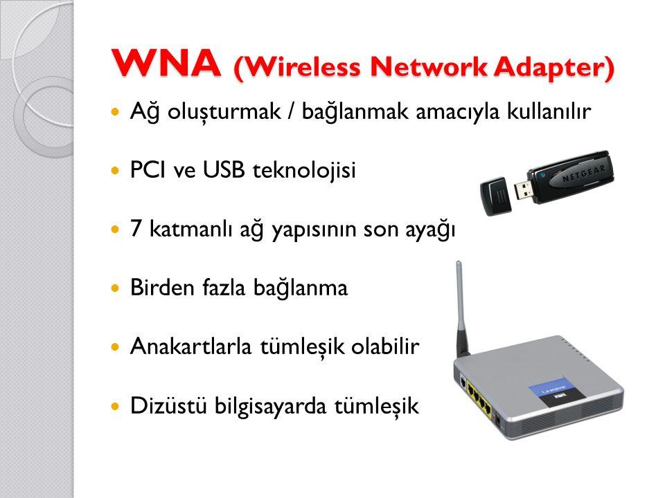 WNA (Wireless Network Adapter) A ğ oluşturmak / ba ğ lanmak amacıyla kullanılır PCI ve USB teknolojisi 7 katmanlı a ğ yapısının son aya ğ ı Birden fazla ba ğ lanma Anakartlarla tümleşik olabilir Dizüstü bilgisayarda tümleşik