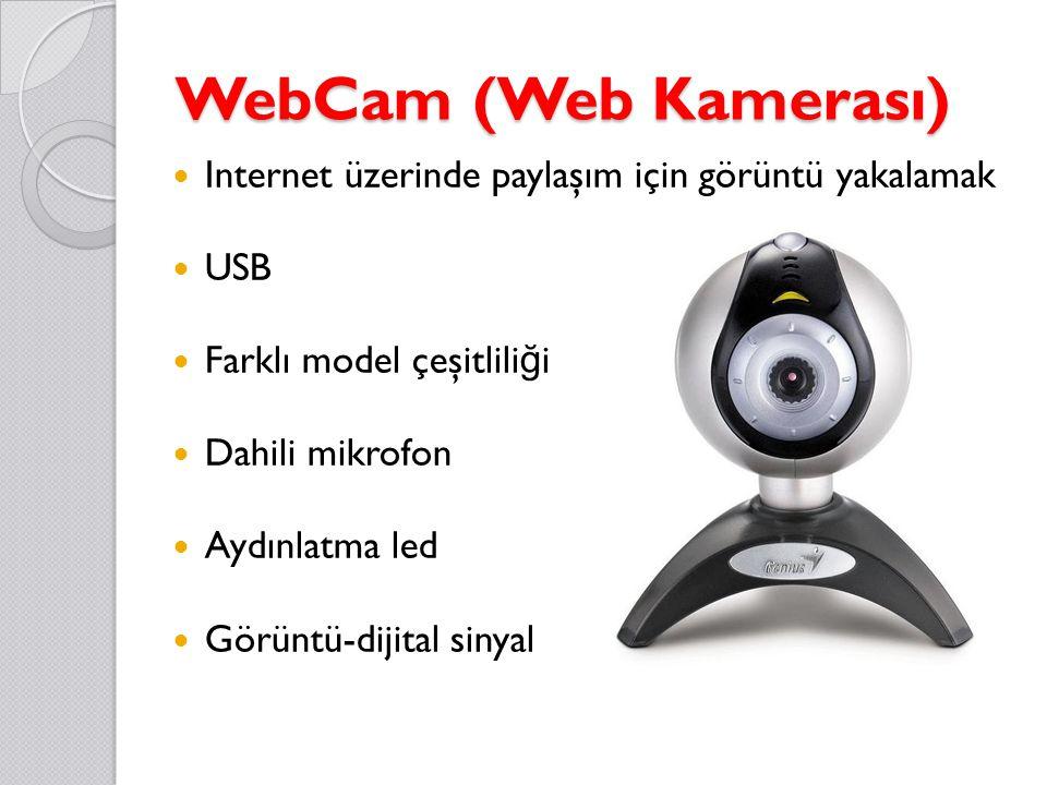 WebCam (Web Kamerası) Internet üzerinde paylaşım için görüntü yakalamak USB Farklı model çeşitlili ğ i Dahili mikrofon Aydınlatma led Görüntü-dijital sinyal