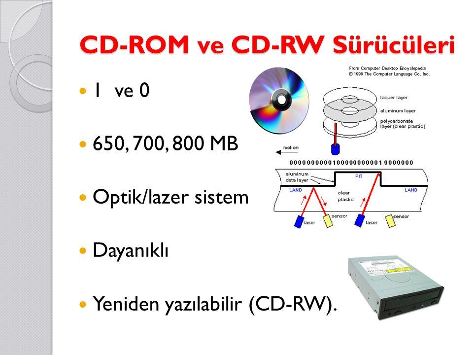 CD-ROM ve CD-RW Sürücüleri 1 ve 0 650, 700, 800 MB Optik/lazer sistem Dayanıklı Yeniden yazılabilir (CD-RW).