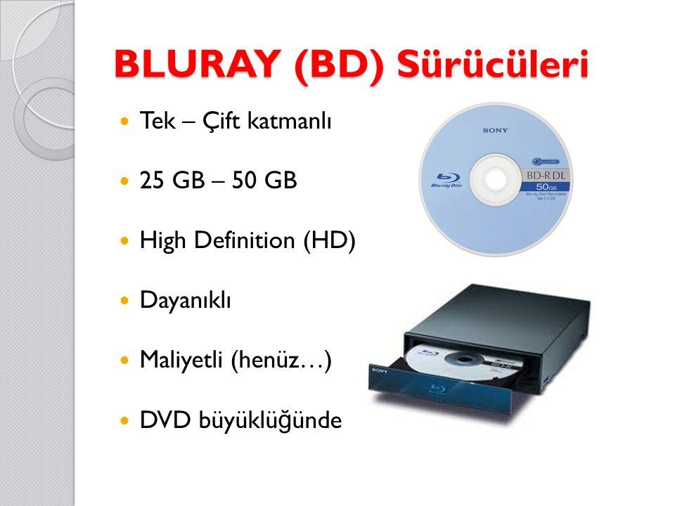 BLURAY (BD) Sürücüleri Tek – Çift katmanlı 25 GB – 50 GB High Definition (HD) Dayanıklı Maliyetli (henüz…) DVD büyüklü ğ ünde diskler