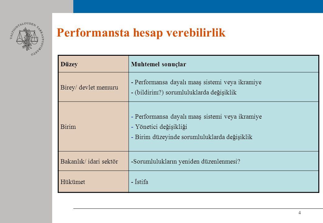 4 Performansta hesap verebilirlik DüzeyMuhtemel sonuçlar Birey/ devlet memuru - Performansa dayalı maaş sistemi veya ikramiye - (bildirim ) sorumluluklarda değişiklik Birim - Performansa dayalı maaş sistemi veya ikramiye - Yönetici değişikliği - Birim düzeyinde sorumluluklarda değişiklik Bakanlık/ idari sektör-Sorumlulukların yeniden düzenlenmesi.