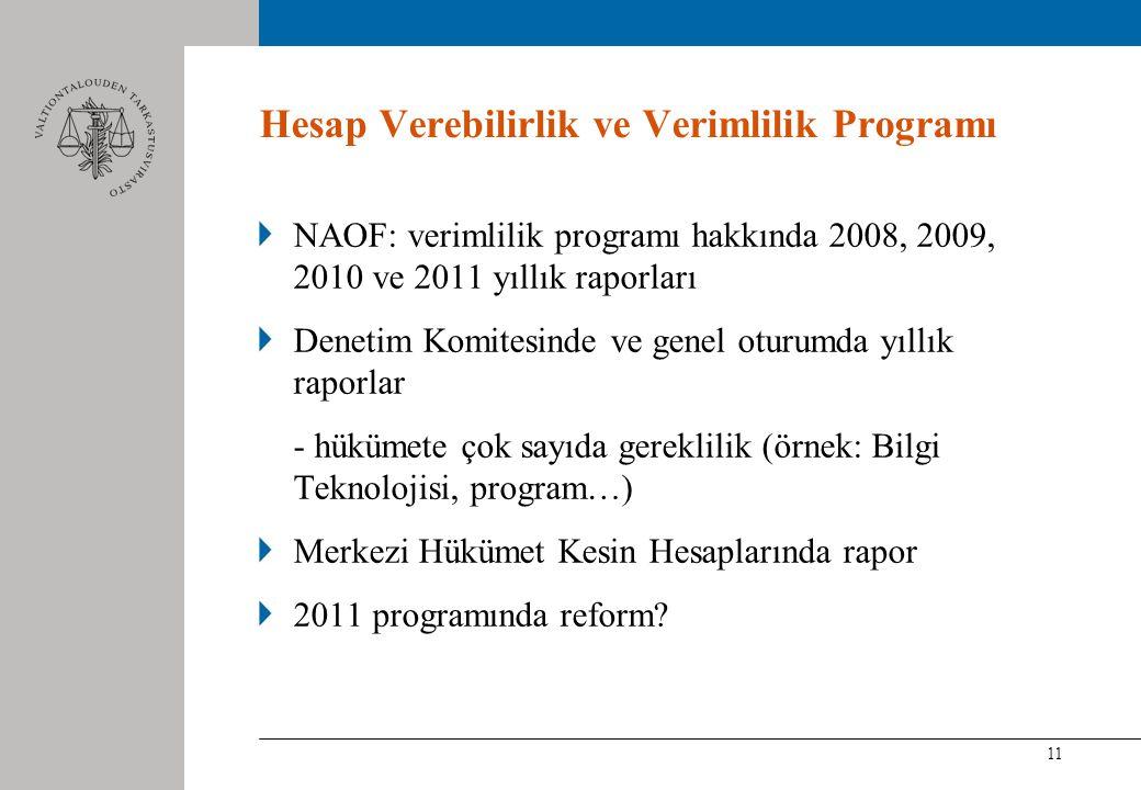 11 Hesap Verebilirlik ve Verimlilik Programı NAOF: verimlilik programı hakkında 2008, 2009, 2010 ve 2011 yıllık raporları Denetim Komitesinde ve genel oturumda yıllık raporlar - hükümete çok sayıda gereklilik (örnek: Bilgi Teknolojisi, program…) Merkezi Hükümet Kesin Hesaplarında rapor 2011 programında reform