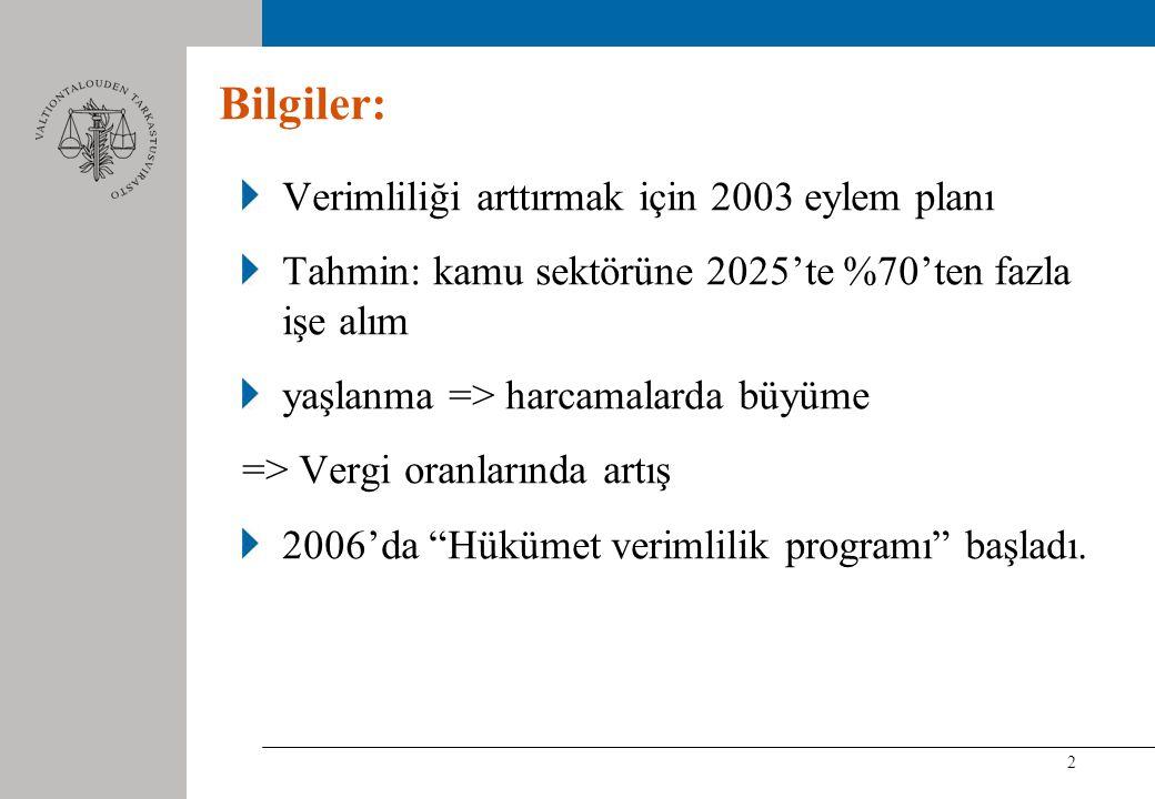 2 Bilgiler: Verimliliği arttırmak için 2003 eylem planı Tahmin: kamu sektörüne 2025'te %70'ten fazla işe alım yaşlanma => harcamalarda büyüme => Vergi oranlarında artış 2006'da Hükümet verimlilik programı başladı.