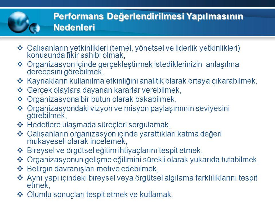 Performans Değerlendirilmesi Yapılmasının Nedenleri  Çalışanların yetkinlikleri (temel, yönetsel ve liderlik yetkinlikleri) konusunda fikir sahibi ol
