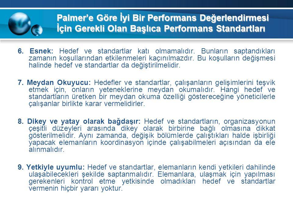 Palmer'e Göre İyi Bir Performans Değerlendirmesi İçin Gerekli Olan Başlıca Performans Standartları 6. Esnek: Hedef ve standartlar katı olmamalıdır. Bu