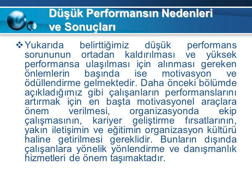 Düşük Performansın Nedenleri ve Sonuçları  Yukarıda belirttiğimiz düşük performans sorununun ortadan kaldırılması ve yüksek performansa ulaşılması iç