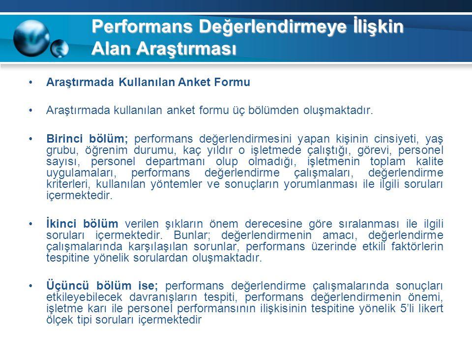 Performans Değerlendirmeye İlişkin Alan Araştırması Araştırmada Kullanılan Anket Formu Araştırmada kullanılan anket formu üç bölümden oluşmaktadır. Bi