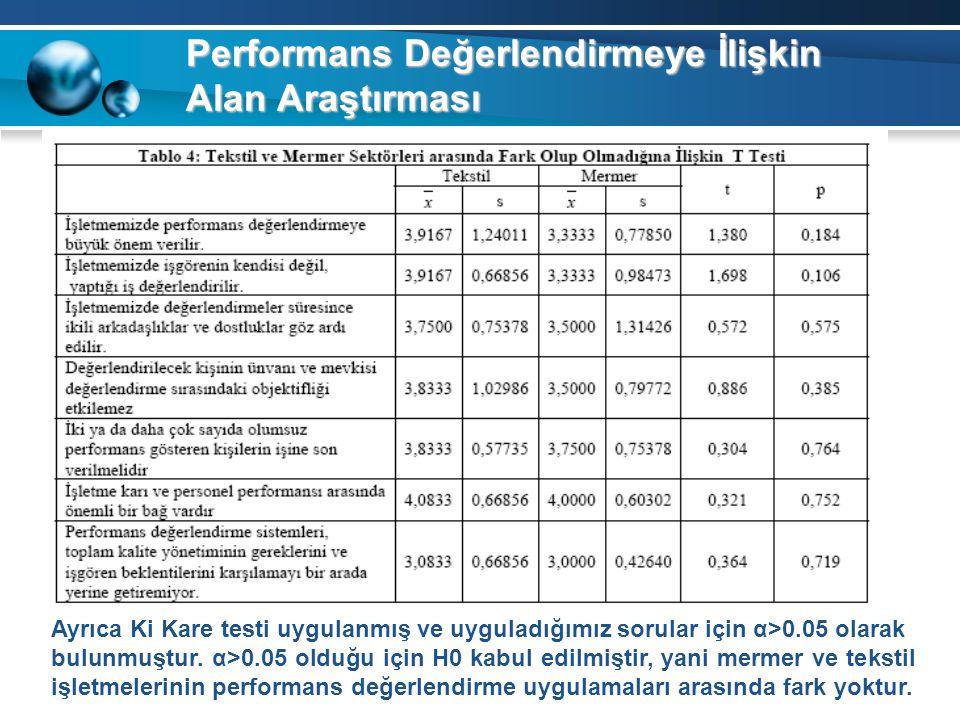 Performans Değerlendirmeye İlişkin Alan Araştırması Ayrıca Ki Kare testi uygulanmış ve uyguladığımız sorular için α>0.05 olarak bulunmuştur. α>0.05 ol