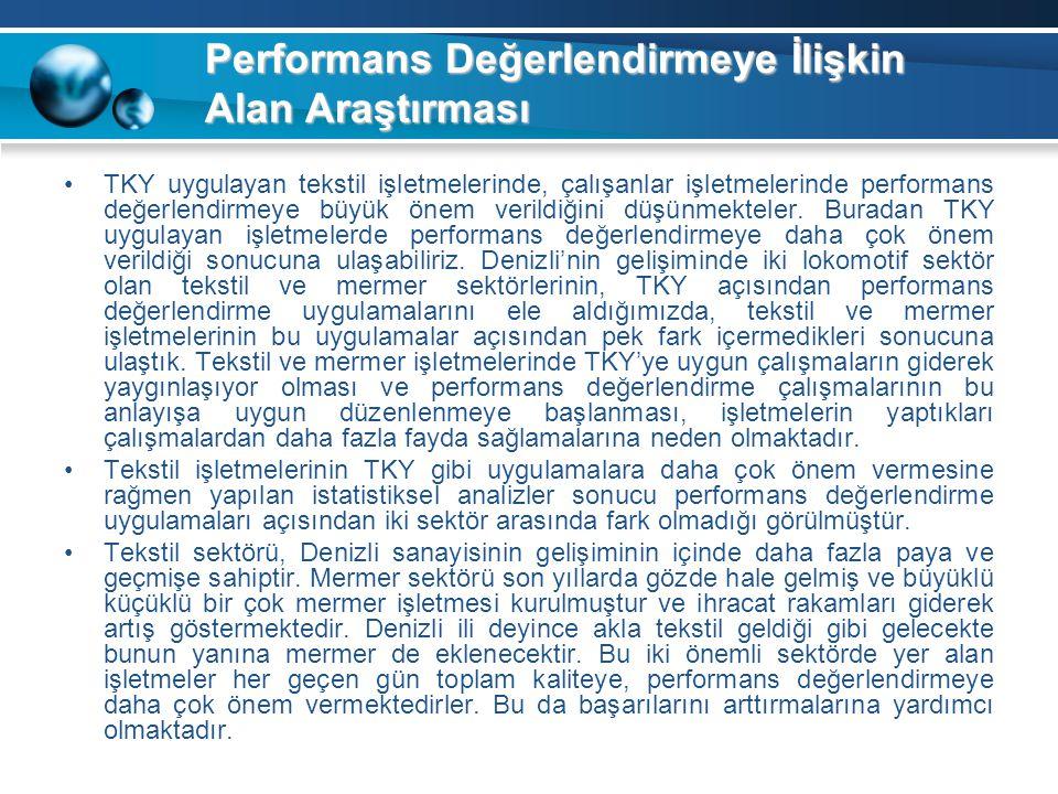 Performans Değerlendirmeye İlişkin Alan Araştırması TKY uygulayan tekstil işletmelerinde, çalışanlar işletmelerinde performans değerlendirmeye büyük ö