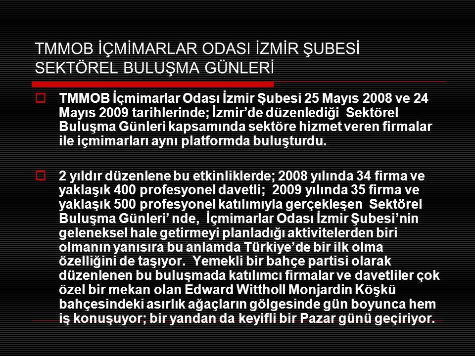 TMMOB İÇMİMARLAR ODASI İZMİR ŞUBESİ SEKTÖREL BULUŞMA GÜNLERİ  TMMOB İçmimarlar Odası İzmir Şubesi 25 Mayıs 2008 ve 24 Mayıs 2009 tarihlerinde; İzmir'de düzenlediği Sektörel Buluşma Günleri kapsamında sektöre hizmet veren firmalar ile içmimarları aynı platformda buluşturdu.