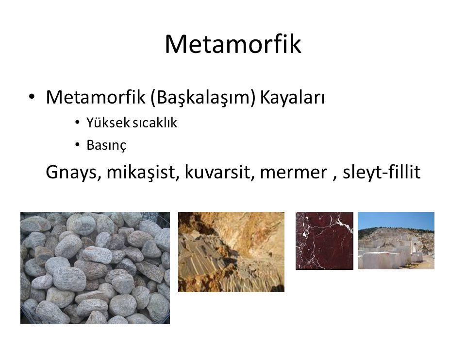 Metamorfik Metamorfik (Başkalaşım) Kayaları Yüksek sıcaklık Basınç Gnays, mikaşist, kuvarsit, mermer, sleyt-fillit