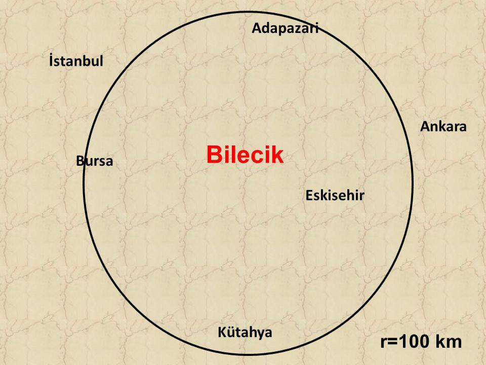 Adapazari İstanbul Kütahya Eskisehir Bursa Ankara Bilecik r=100 km