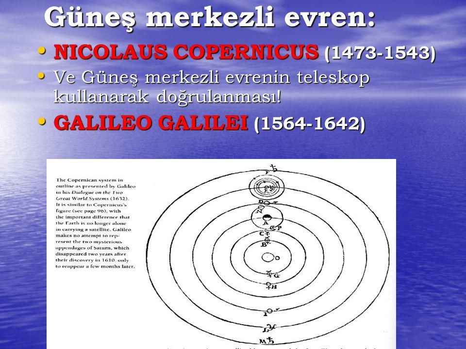 Güneş merkezli evren: NICOLAUS COPERNICUS (1473-1543) NICOLAUS COPERNICUS (1473-1543) Ve Güneş merkezli evrenin teleskop kullanarak doğrulanması! Ve G