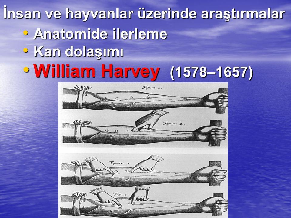 İnsan ve hayvanlar üzerinde araştırmalar Anatomide ilerleme Anatomide ilerleme Kan dolaşımı Kan dolaşımı William Harvey (1578–1657) William Harvey (15
