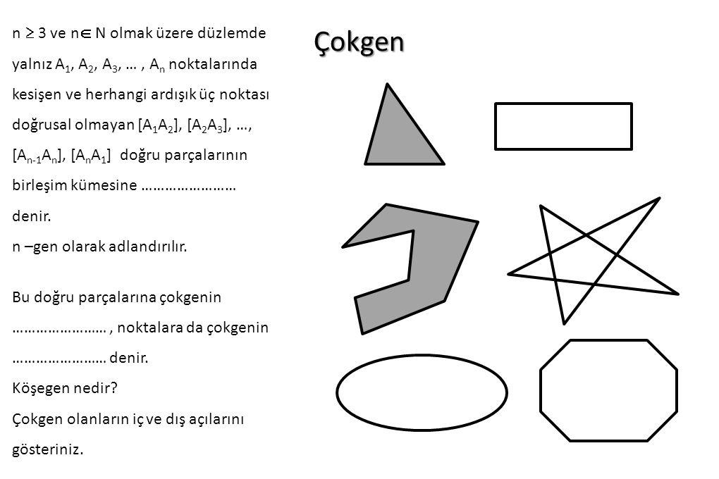 Çokgen n  3 ve n  N olmak üzere düzlemde yalnız A 1, A 2, A 3, …, A n noktalarında kesişen ve herhangi ardışık üç noktası doğrusal olmayan [A 1 A 2