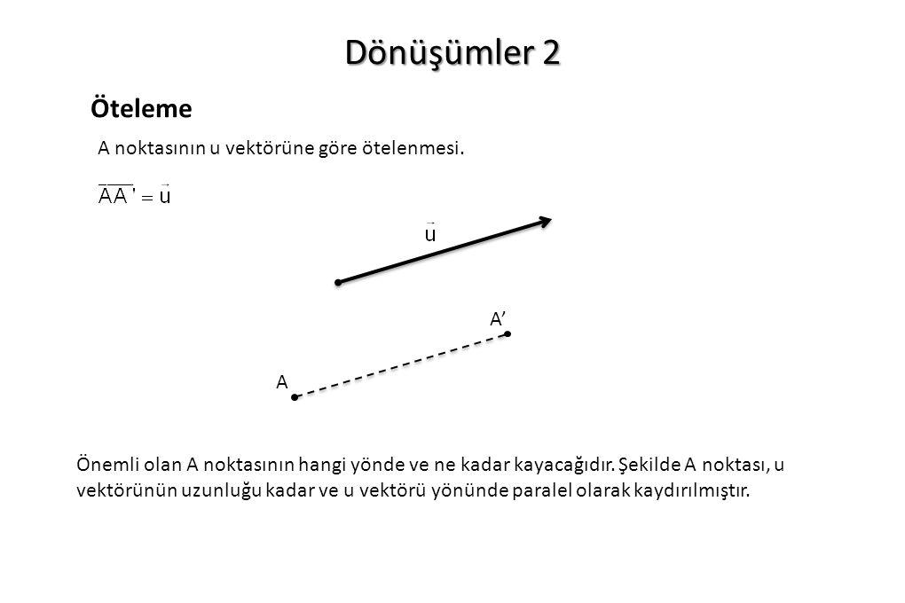 Dönüşümler 2 Öteleme A A' A noktasının u vektörüne göre ötelenmesi. Önemli olan A noktasının hangi yönde ve ne kadar kayacağıdır. Şekilde A noktası, u