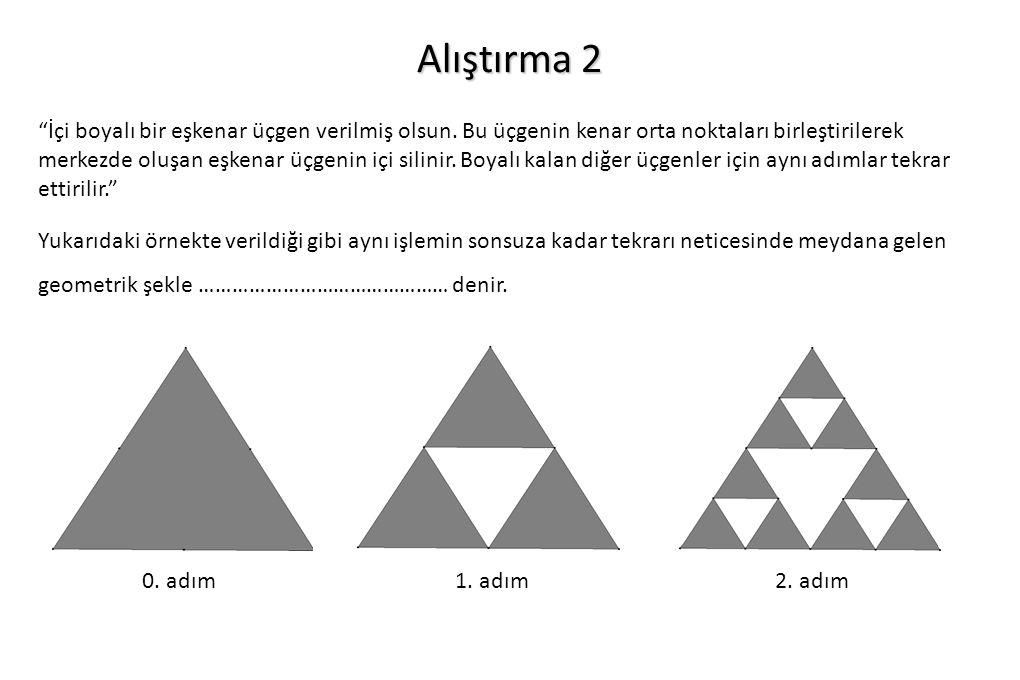 """Alıştırma 2 """"İçi boyalı bir eşkenar üçgen verilmiş olsun. Bu üçgenin kenar orta noktaları birleştirilerek merkezde oluşan eşkenar üçgenin içi silinir."""