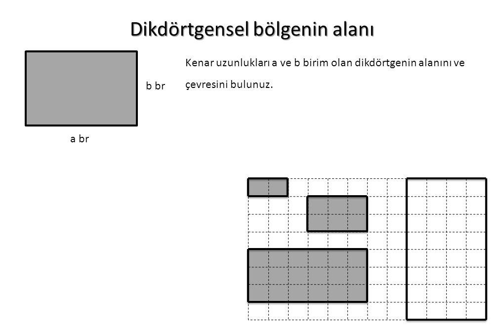 Dikdörtgensel bölgenin alanı a br Kenar uzunlukları a ve b birim olan dikdörtgenin alanını ve çevresini bulunuz. b br
