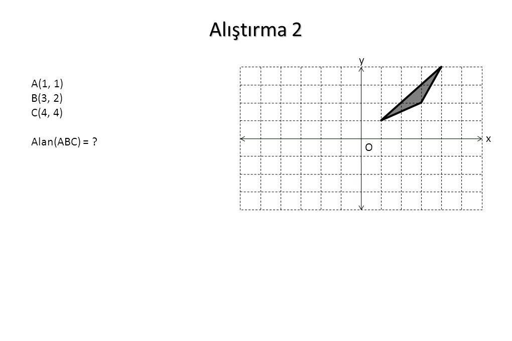 Alıştırma 2 x y O A(1, 1) B(3, 2) C(4, 4) Alan(ABC) = ?