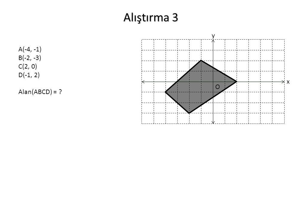 Alıştırma 3 x y O A(-4, -1) B(-2, -3) C(2, 0) D(-1, 2) Alan(ABCD) = ?